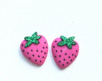Strawberry Earrings, Strawberry Stud Earrings, Fruit Jewelry, Kawaii, Mini Food, Pink Strawberry