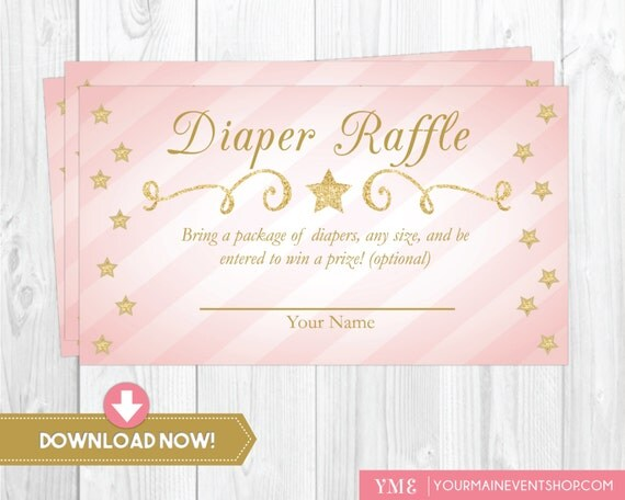 Twinkle Twinkle Little Star Diaper Raffle Card • Gold and Pink Diaper Request Raffle Card Printable Instant Download • BS-T-01