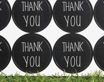 Black Gloss 3cm Round Label Sticker Sheet - Thank You