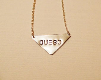 QUESO Necklace, Cheese Lover, Statement Silver Necklace