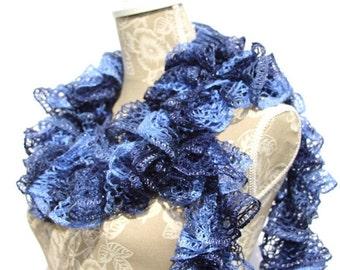 Crochet Scarf, Crochet Ruffle Scarf, Sashay Scarf, Blue Scarf,  Handmade Scarf, Fashion Scarf, Frilly Scarf, Womans Scarf, Gift for her