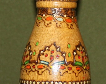 Vintage Hand Made Pyrography Wood Brandy Flask Decanter