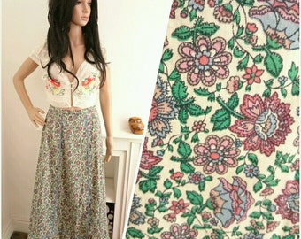 Vintage 70's Pink Blue Ditsy Floral Daisy Boho Folk Cotton Maxi Skirt / UK 8 / EU 36 / US 4