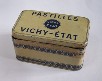 "Tin box ""Pastilles Vichy-Etat"" french confectionery  vintage  Made in France"