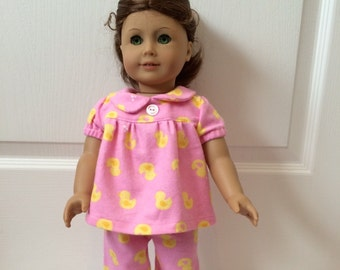 18 Inch  Doll Clothes Pajamas w/Bright Pink Flannel With Yellow Ducks that fits American Girl Doll Clothes
