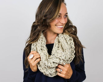 READY TO SHIP Super Chunky Knit Cowl Scarf | Oatmeal