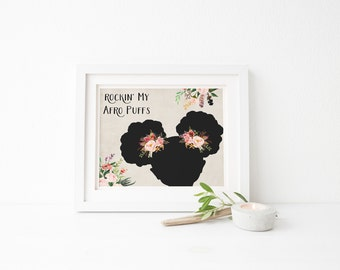 """PRINTABLE Art """"Rockin My Afro Puffs"""" The Afro Puffs African American Girl Afro Puff Natural hair Floral Black Girl Black Girl Silhouette"""