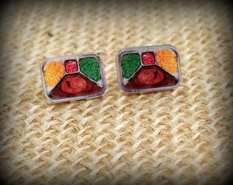 TV Dinner Earrings - TV Dinner Jewelry - Retro Earrings - Food Earrings - Salisbury Steak - Space Age Food - Yesteryear - Steak Dinner