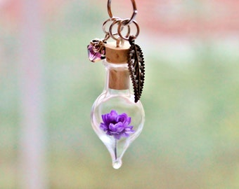 Amethyst Jewelry Purple Flower Terrarium Necklace Unique Birthday Gift February Birthstone Crystal Necklace Dried Flower Bottle Necklace