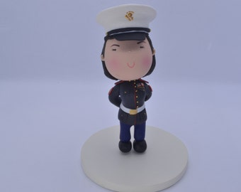 US Marine Corps Woman.  Wedding cake topper. Handmade. Fully customizable. Unique keepsake