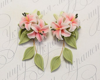 Pink lily earrings. Dangle earrings. Pink flower earrings. Polymer clay jewelry. Stargazer lily jewelry. Bridesmaids gift. Pink earrings