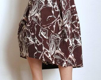 Midi Skirt - Cotton Skirt - Media Skirt - Large Skirt  - Everyday Clothing - Tulip Skirt - Curvy Clothing - Elastic Waistband - Marble Print