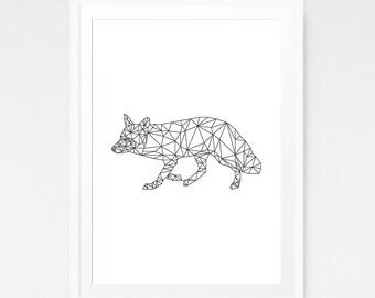 Geometric animal, Fox print nursery, Origami wall art, Geometric fox, Abstract art, Origami fox, Art prints, Best sellers, Downloads print