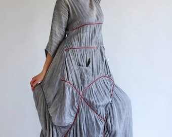 Linen dress.Front of the dress can be in  both sides . Dreamy, romantic and unique.  Natural and inspiring.  Linen