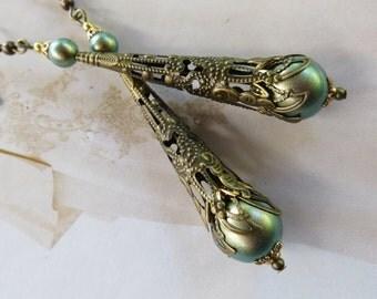 ANTIQUE EARRINGS Pearl Green Jewelry Gold Brass Bronze Filigree Bride Wedding Dress Bridesmaid Gift Designer Jewellery Mother Long Thin Drop