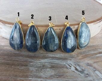 Large Kyanite Pendant Gold Chain Kyanite Necklace Unique Gemstone Necklace Different Blue Gemstone Necklace Large Gemstone Necklace N0773