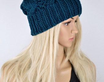 Knit Hat, Cable Hat, Beanie Hat, Pom Pom Hat, Premium Anti Pilling Acrylic Pom Pom Hat, Winter Hat, Teal Color Hat