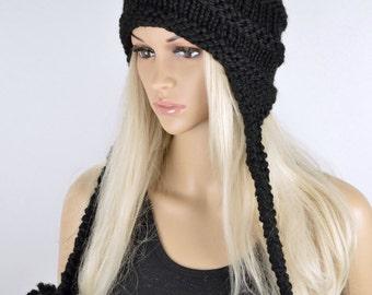 Hat, Knit hat, Chullo, Ear Flap Hat, Pom Pom Hat, Winter Hat, Handmade Hat, Chullo Hat, Black Earflap, Wool Hat, Fashion Hat