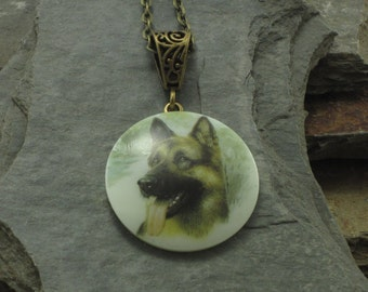 German Shepard Dog Button Pendant Necklace which is a Cute Gift for Dog Lovers GSD Support Donation, Dog Lover Necklace