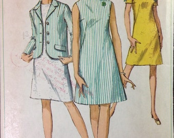 Simplicity 7641 - 1960s 4-H A Line Knee Length Dress and Notched Collar Jacket - Size 14 Bust 36