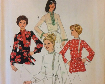 Simplicity 6815 - 1970s Top with Stand Up Collar and Kurti Style Option - Size 16 Bust 38