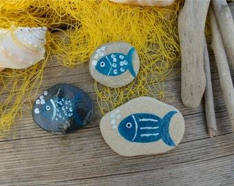 Painted Rocks, Hand Painted Stones, Pebble Art, Pebble Decoration, Fish Stones, Greek Beach Pebbles