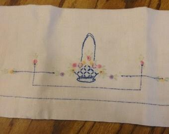 Vintage Tea Towel basket of flowers