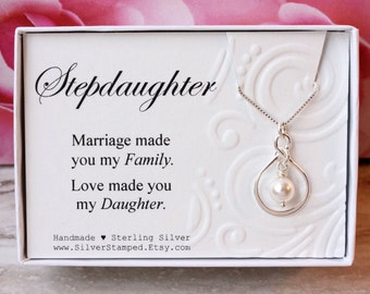 Gift for Stepdaughter Gift Sterling silver infinity necklace with Swarovski pearl, birthday gift from stepmom for step daughter