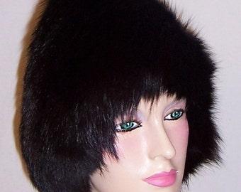 Stunning Black Fox Pixie Fur Hat