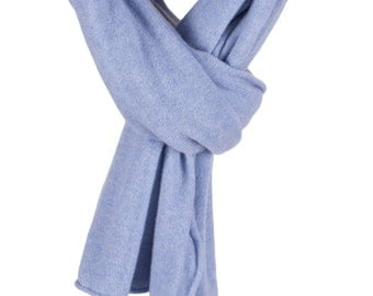 Women's 100% Cashmere Wrap Scarf - Sky Blue - hand made in Scotland by Love Cashmere