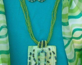Lime Green Shell Necklace Set