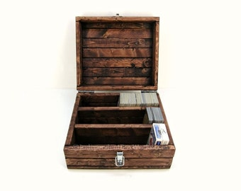 Made to Order: Trading Card Game Box with Sections - Divided Playing Card Case - Collector's Card Storage Chest, Rustic Wooden Geek Gift Box