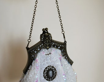 Bridal purse, Vintage bag, Bridal bag, Victorian style, wedding bag, off white purse, Brides bag, Antique, Edwardian, communion bag, purse