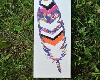 Mixed Media chevron feather. item #1