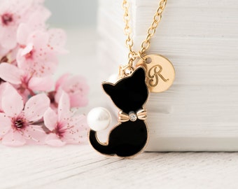 black cat necklace gold with birthstone animal, kitties pendant with always in my heart note as pet lover necklace-birthday initial necklace