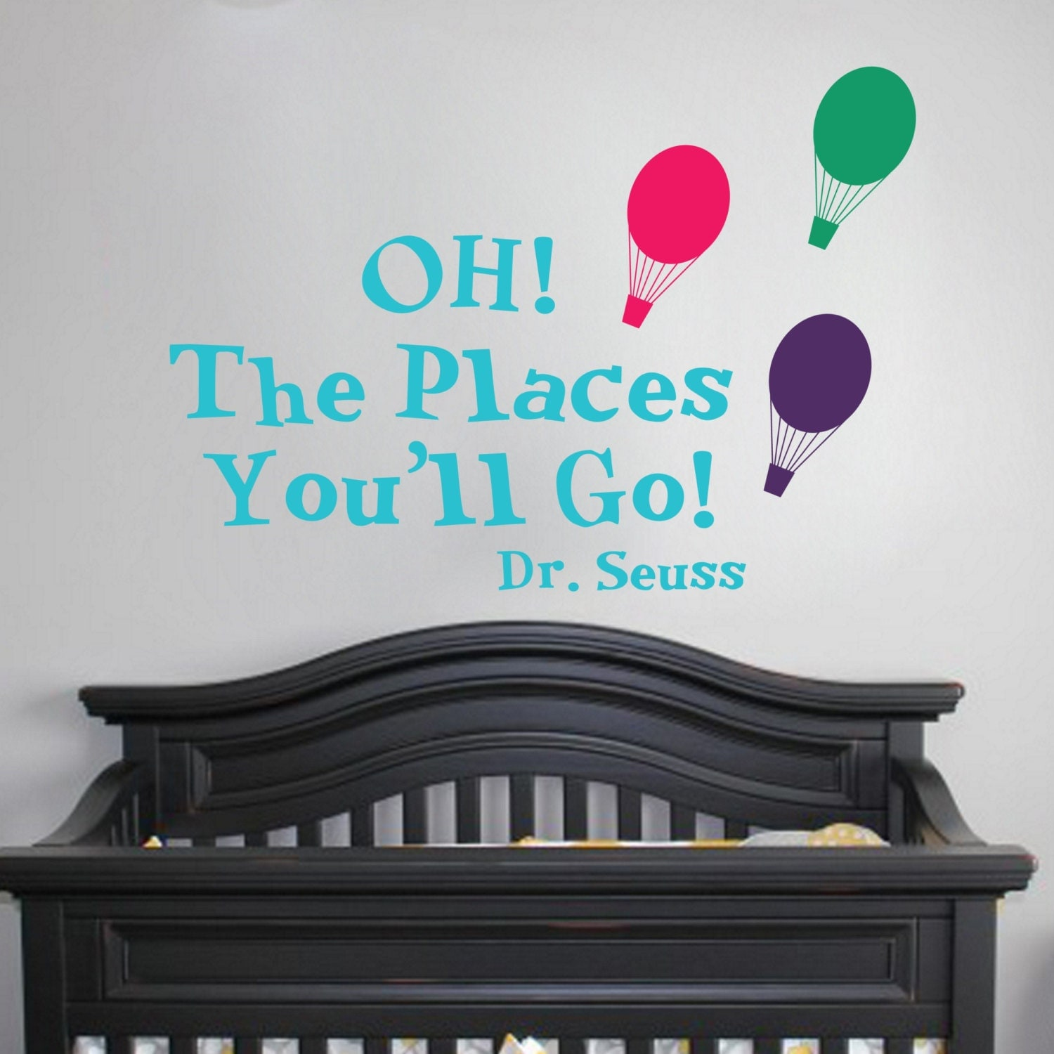 oh the places you 39 ll go w balloons wall vinyl sticker kids. Black Bedroom Furniture Sets. Home Design Ideas