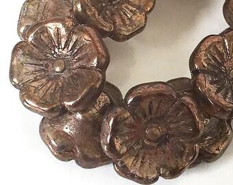 Bronze Czech Glass Buttons, Small Flower Buttons, Glass Shank Buttons, Brown Flower Buttons, 12mm - 10 buttons (BT-04)