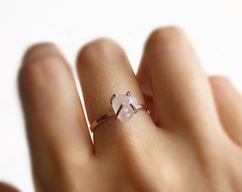 Raw Rose Quartz Engagement ring Rose Gold 14K