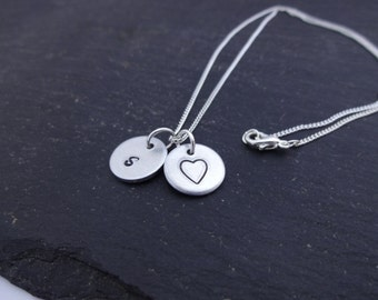 Initial Heart Necklace, Letter Necklace, Initial Jewellery,  Initial Necklace, Heart Necklace, Hand Stamped Necklace, Personalised Gift