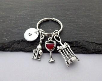 Initial Wine Keyring, Hand Stamped Keyring, Wine Keyring, Wine Lover, Wine Keychain, Charm Keyring,Wine Gifts,Personalised Keyring,Wine Gift