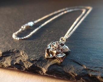 Shiny Silver Flower Necklace, Floral, Silver Plated Chain