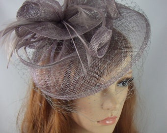 Pewter Grey Sinamay Fascinator With Birdcage Veil - Occasion Wedding Races