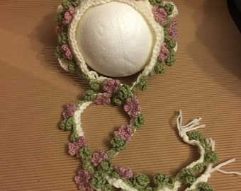Littlebits Newborn - 6 Weeks Baby Crocheted Cream, Pink & Sage Vintage Style Floral Bonnet - Handcrafted in Australia RTS