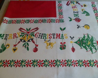 "Vintage Mid Century Christmas Tablecloth 63"" x 52"" Bright Primary Colors Angels/Shiny Brites/Reindeer/Tree ""Merry Christmas"""