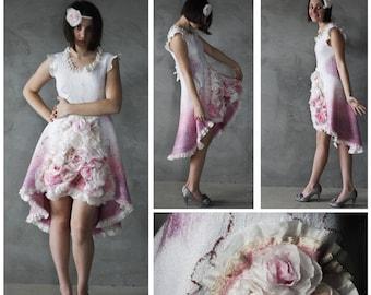 Felted Dress, Rose Dress, Felt Dress, Spring Dress, Mother Daughter Dress, Flower Girl Dress, Wedding Dress, Retro Dress, Boho Wedding Dress