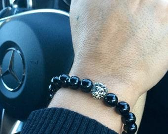 Black Onyx Silver Lion's Head Bracelet
