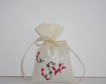 Handmade Embroidered Lavender Bag