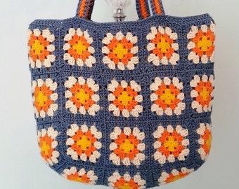 Crochet Bag, Crochet Purse, Crochet Beach Bag, Retro Bag ,Granny Square Bag, Crohcet Shoulder Bag, Summer Bag, Gift for Her