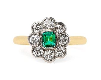 Edwardian Engagement Ring 'Giverny' Square Emerald Engagement Ring EMERALD Diamond Halo Engagement RING 18kt yellow white gold band diamonds