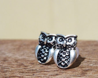 Antique silver owl earrings on plastic posts for sensitive ears